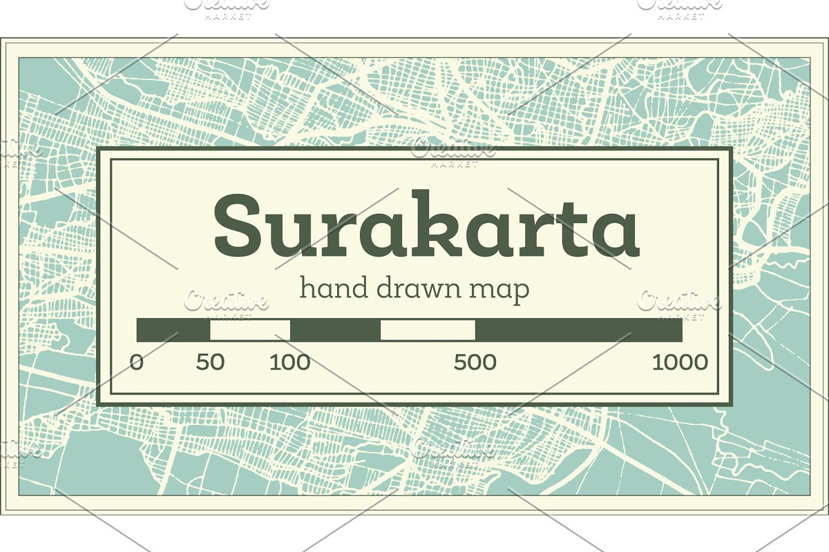 Surakarta Indonesia City Map ~ Illustrations ~ Creative Market