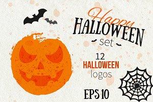 Happy Halloween Logo Set