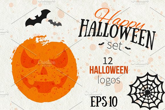 Happy Halloween Logo Set ~ Illustrations ~ Creative Market