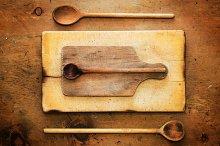 Vintage table, rustic kitchenware 1