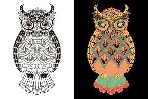 Ornamental Owl. Doodle pattern