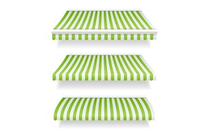 Colorful Awnings for Shop Set Green.