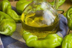 pimientos verdes y aceite de oliva