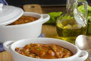 tomate frito con pimientos