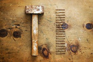 Vintage hammer and nails 1