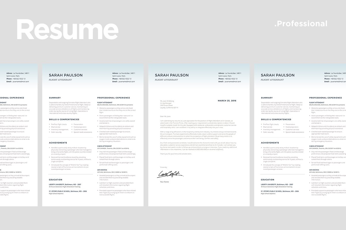 Flight Attendant Resume Template ~ Resume Templates ~ Creative Market