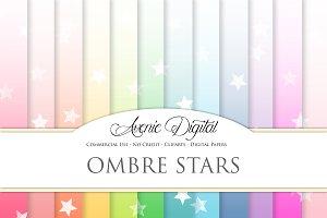 Ombre Stars Digital Paper