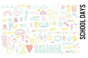 School Learning Doodle Clipart