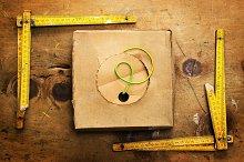 Vintage yardsticks and wire box
