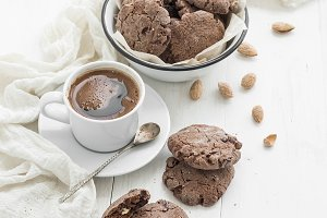 Chocolate cookies with cup of coffee