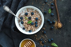 Rustic healthy breakfast set