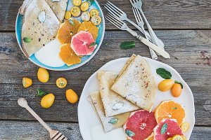 Thin crepes with grapefruit & orange