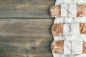 Freshly baked rustic village bread