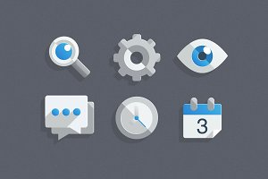 6 Flat Communication Icons