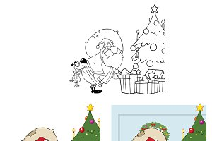 Happy Santa Claus. Collection Set