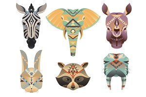 Geometric abstract animals head.