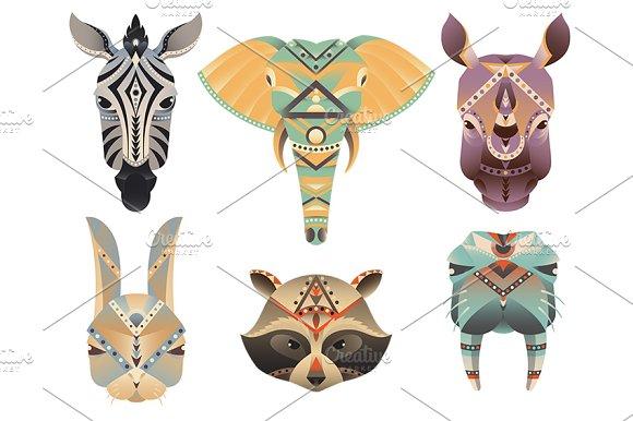 Geometric abstract animals head.