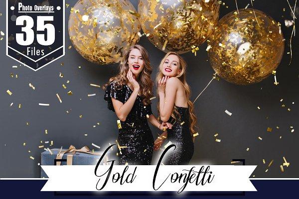 35 Gold Confetti glitter overlay