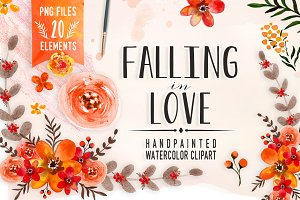 Falling in Love - watercolor clipart
