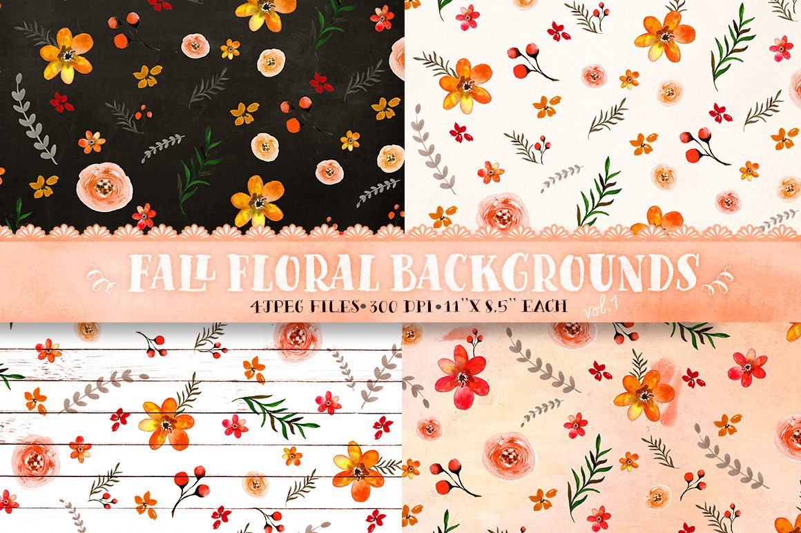 Fall Floral Backgrounds Vol 1 Custom Designed Graphic Patterns