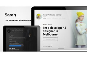 Sarah - CV & Resume vCard WordPress