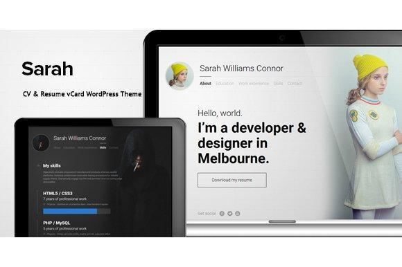 Sarah - CV & Resume vCard WordPress