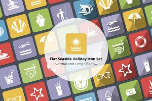 Flat Seaside Holiday Icon Set