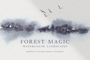 Abstract Watercolor Landscapes