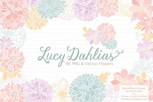 Pastel Dahlia Flowers Clipart