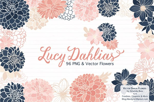 Navy & Pink Dahlia Clipart