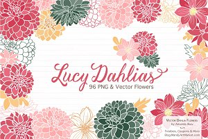Vector & Clipart Dahlia Flowers