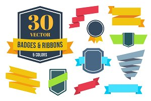 Vector flat ribbons and badges
