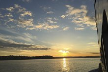 Sunset on a Ferry. Seattle. Sound