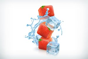 Strawberry with ice cubes