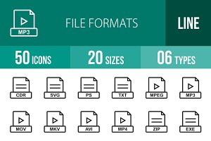 50 File Formats Line Icons