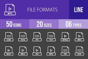 50 File Formats Line Inverted Icons