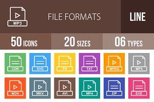 50 File Formats Line Multicolor