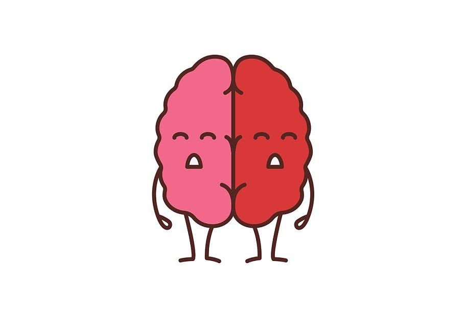 Sad human brain emoji color icon