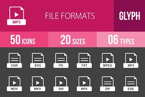 50 File Formats Glyph Inverted Icons
