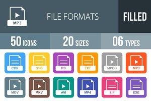 50 File Formats Flat Round Corner