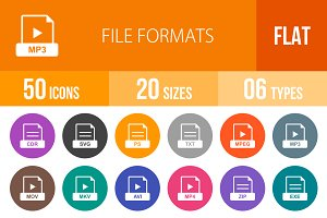 50 File Formats Flat Round Icons