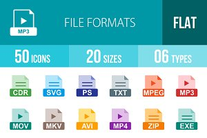 50 File Formats Flat Multicolor