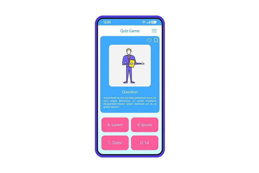 Quiz game app smartphone interface