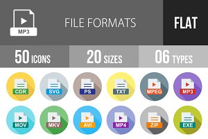 50 File Formats Flat Shadowed Icons