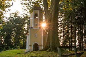 Small catholic church in morning