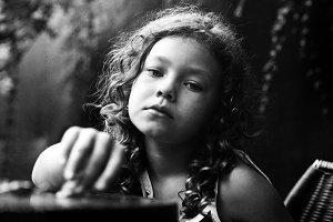 Little girl portrait in retro style