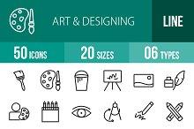 50 Art & Designing Line Icons