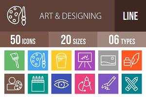 50 Art & Designing Line Multicolor
