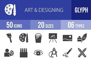 50 Art & Designing Glyph Icons