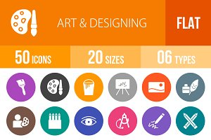 50 Art & Designing Flat Round Icons